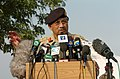 US Navy 051015-N-8796S-072 Pakistani President Gen. Pervez Musharraf speaks during a press conference at the Pakistan Air Force base in Chaklala Pakistan.jpg
