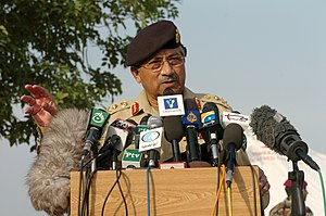 Pervez Musharraf - President Gen. Pervez Musharraf speaks during a press conference at the Pakistan Air Force base in Chaklala Pakistan.