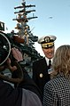 US Navy 060104-N-7130B-076 Commander, Carrier Strike Group Seven (CSG-7), Rear Adm. Mike Miller, answers questions from local media about the upcoming deployment of the Ronald Reagan Carrier Strike Group.jpg