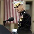US Navy 060911-N-0696M-090 Chairman of the Joint Chiefs of Staff, Marine Gen. Peter Pace speaks to attendees at a memorial ceremony at the Pentagon remembering the 5th anniversary of terrorist attacks on the United States (cropped).jpg