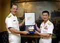 US Navy 070518-N-0696M-116 Chief of Naval Operations (CNO) Adm. Mike Mullen presents Adm. Eiji Yoshikawa, Chief of Staff, Japan Maritime Self-Defense Force with a plaque during an office call at the Pentagon.jpg