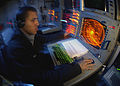 US Navy 080119-N-0455L-062 Operations Specialist Seaman Victor Padilla monitors a radar console for air contacts near the Nimitz-class nuclear-powered aircraft carrier USS Harry S. Truman (CVN 75).jpg