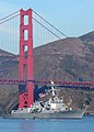 US Navy 101009-N-3570S-046 The guided-missile destroyer USS Pinckney (DDG 91) passes under the Golden Gate Bridge during the Parade of Ships at San.jpg