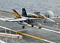 US Navy 110718-N-VA590-025 An F-A-18 Hornet assigned to the Vigilantes of Strike Fighter Squadron (VFA) 151 lands aboard the aircraft carrier USS A.jpg