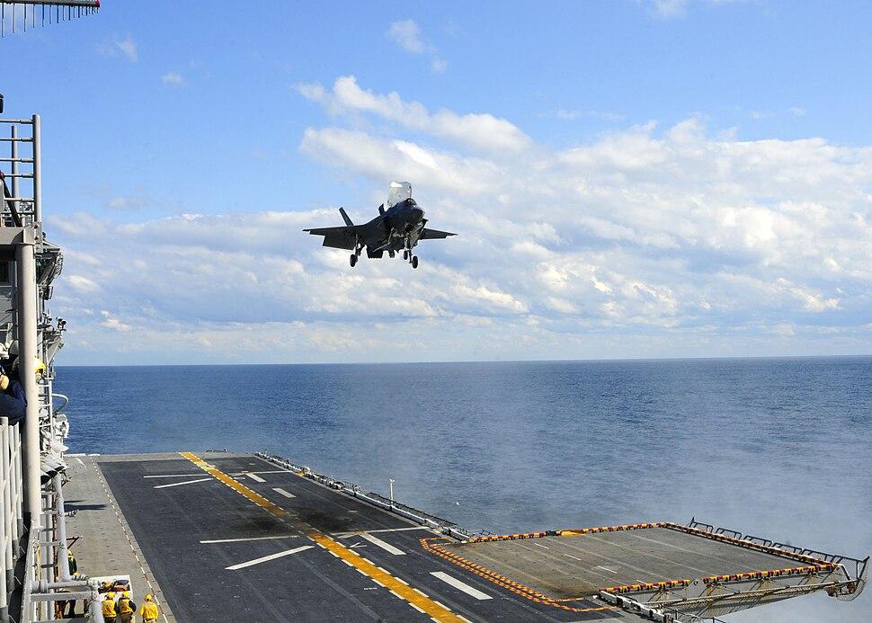 US Navy 111003-N-ZZ999-002 An F-35B Lightning II makes the first vertical landing on a flight deck at sea aboard the amphibious assault ship USS W