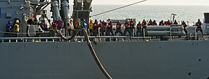 US Navy 120106-N-BT887-096 Sailors aboard the Arleigh Burke-class guided-missile destroyer USS John Paul Jones (DDG 53) pull a single-probe fueling.jpg