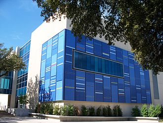 University of Texas at Dallas - Science Learning Center. The tile exterior represents two patterns: atomic emission spectra of gases, and human DNA.