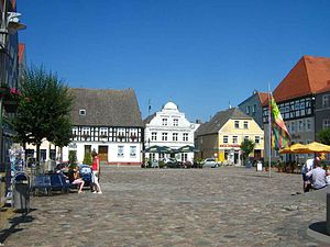 Ueckermünde - Historical market square of Ueckermünde