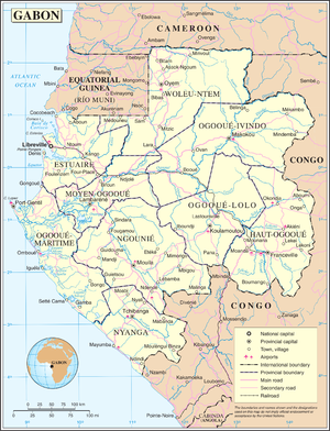 Outline of Gabon - An enlargeable map of the Gabonese Republic