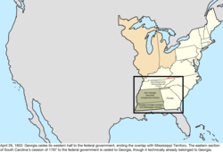 Map of the change to the United States in central North America on April 26, 1802