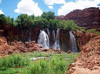 Havasu Creek - The first new waterfall, Upper Navajo Falls.
