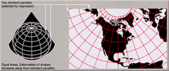 Albers projection - An Albers projection shows areas accurately, but distorts shapes.
