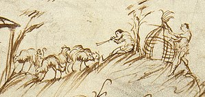 Medieval English wool trade - Shepherd blowing horn in the Utrecht Psalter.