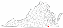 Location of Boykins, Virginia