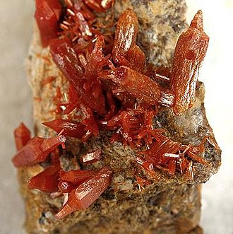Cerbat Mountains - Vanadinite from the old Western Mine, in the southern  Cerbat Mountains