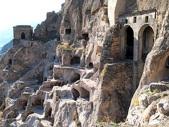 Tamar of Georgia - The ruined cave-town of Vardzia.