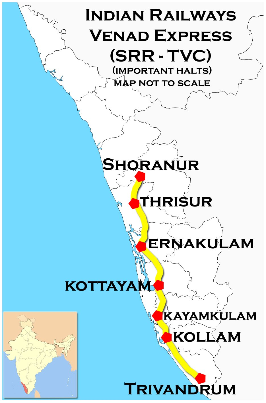 Venad Express (Shoranur - Trivandrum) Route map