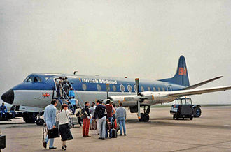 Durham Tees Valley Airport - Passengers boarding a British Midland Viscount 813 in 1987