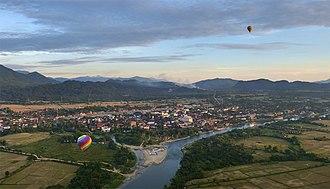 Vang Vieng - Vang Vieng viewed from a hot air balloon