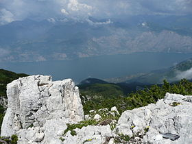 View from monte baldo ridge to lake garda.JPG