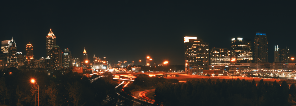 The Atlanta Downtown and Midtown skyline at night