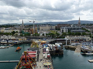 Dún Laoghaire - Image: View of Dun Laoghaire from Ferris Wheel