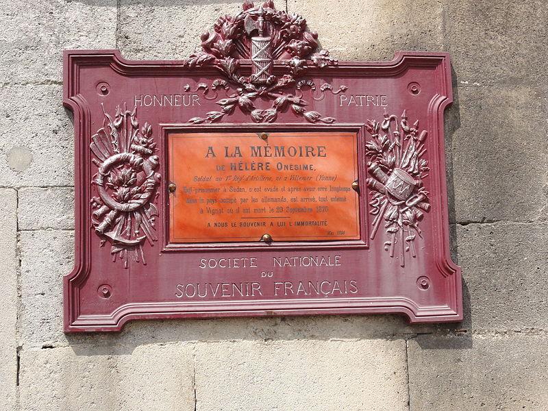 Vignot (Meuse) plaque monument 1870