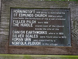 Fuller Pilch - Pilch is remembered on the village sign at Horningtoft