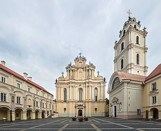 The Grand Courtyard of Vilnius University and Church of St. Johns Vilnius University Great Courtyard 2, Vilnius, Lithuania - Diliff.jpg