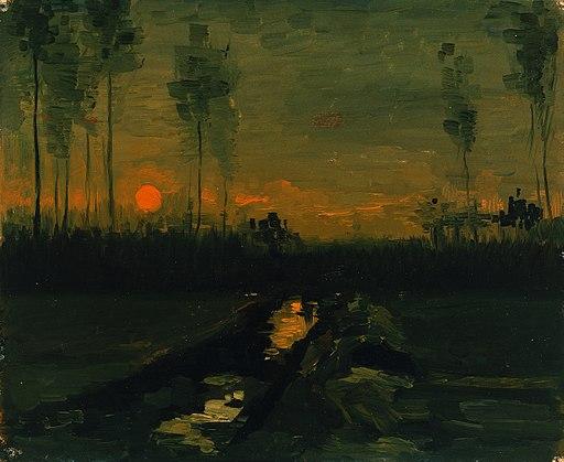 Vincent van Gogh - Landschap bij zonsondergang