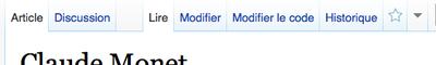 """Positionnement des liens """"modifier"""" et modifier le code"""" dans l'interface en haut d'une page"""