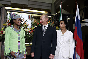 Baleka Mbete - Baleka Mbete meets with Russian President Vladimir Putin during his 2006 visit to South Africa.