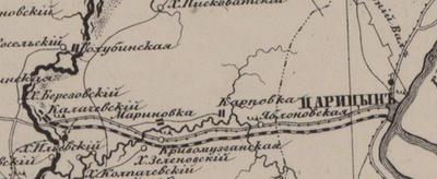 Volga-Don railway Maps of Don Voisko Oblast Atlas 1871 General Ilyin (cropped).png