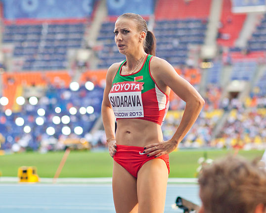 Volha Sudarava (2013 World Championships in Athletics) 01.jpg