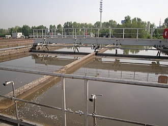 Wastewater treatment - Primary settling tank of wastewater treatment plant in Dresden-Kaditz, Germany
