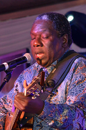 Vusi Mahlasela - Vusi Mahlasela performing at the 100th birthday celebrations of Die Burger in Cape Town, 2015.