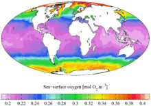 World map showing that the sea-surface oxygen is depleted around the equator and increases towards the poles.