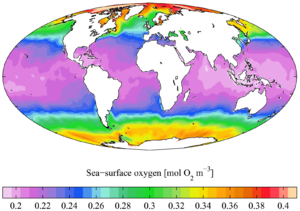 English: Annual mean sea surface dissolved oxy...