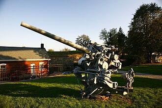 """Fort Schuyler - WWII 3""""/50 caliber naval anti-aircraft gun on maritime mount"""