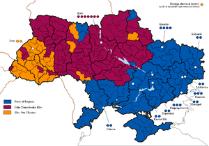 Distribution of votes through 225 electoral districts: leading party or bloc