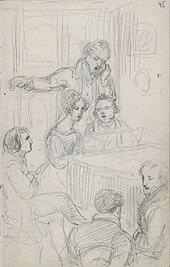 Franz Schubert im Freundeskreis, Zeichnung von Ferdinand Georg Waldmüller, Albertina Wien.[6] (Quelle: Wikimedia)