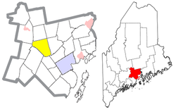 Location of Knox (in yellow) in Waldo County and the state of Maine