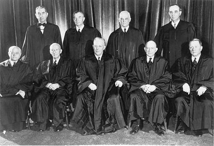The members of the U.S. Supreme Court that on May 17, 1954, ruled unanimously that racial segregation in public schools is unconstitutional. Warren Court 1953.jpg