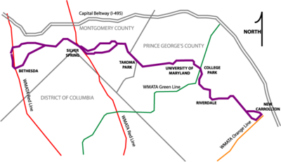 roughly geographical map of the proposed purple line routes including alternative alignments