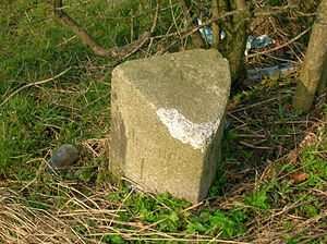 Knockentiber - The Waterpark milestone showing damage from hedgecutting machinery.