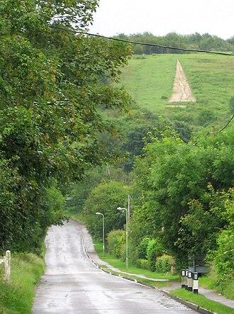 Watlington, Oxfordshire - View from Watlington along Hill Road towards the White Mark on Watlington Hill
