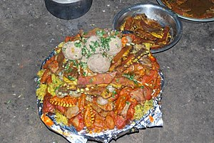 Wazwan - Complete Wazwan on one Platter (or Majma). This is usually presented to the would-be in-laws before/ on the day of the marriage.
