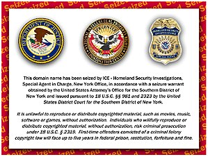 English: Website seizure notice posted by the ...