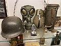 Wehrmacht Heer (WW2 German Army) Stahlhelm (helmet) Gasmaske Büchse-Trommel-Dose-Behälter (gas mask canister) Feldflasche (canteen bottle) Bakelit Marschkompass (compass) etc. Hjemmefrontmuseet Rakkestad war museum Norway 2021 03.jpg