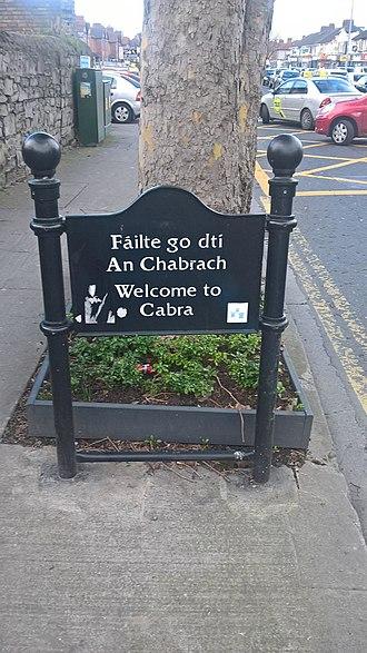 Cabra, Dublin - Welcome to Cabra bilingual sign